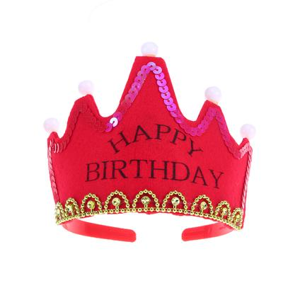 LED Light up Sweet Princess Crown Flashing Birthday Party Hat Cap Tiara Kids Toy