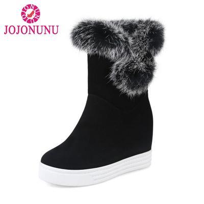 837c48f93 Tamanho 34-43 neve botas altura aumentando as botas de inverno Fur mulheres  meados bezerro