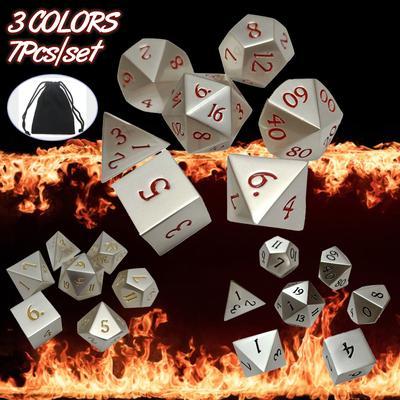 7pcs//Set Embossed Heavy Metal Polyhedral Dice DnD RPG MTG SET Game Tools