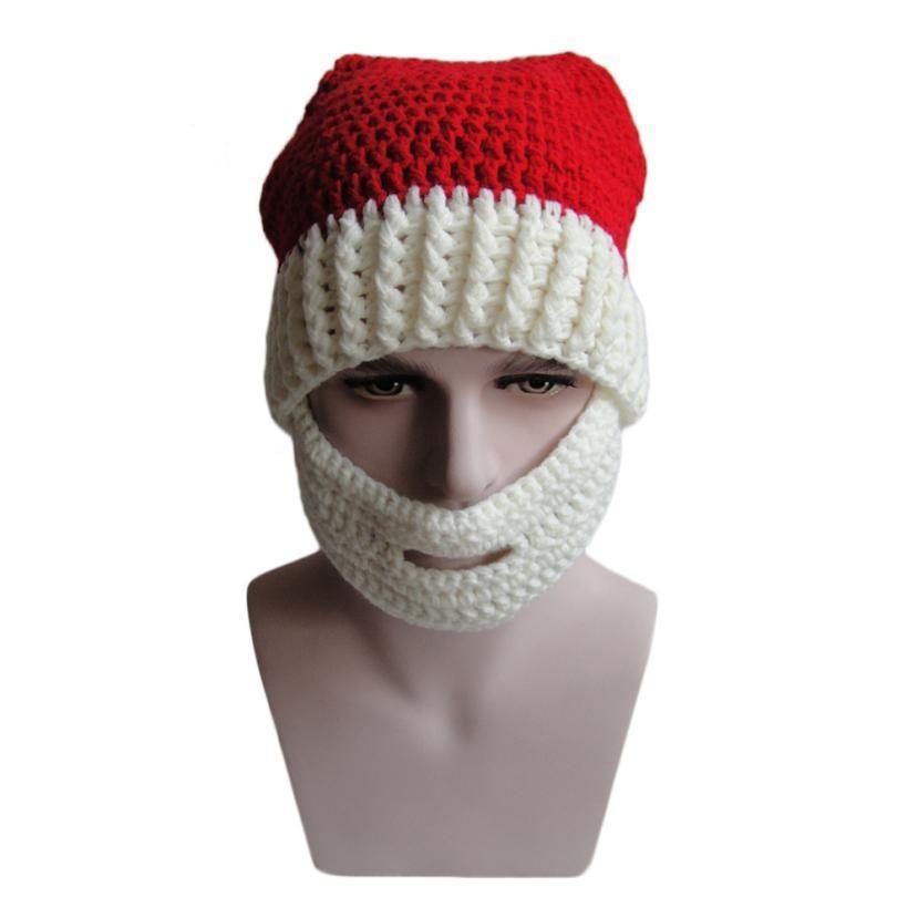 Fría Navidad sombrero bigote de punto hecho a mano sombrero Santa ...