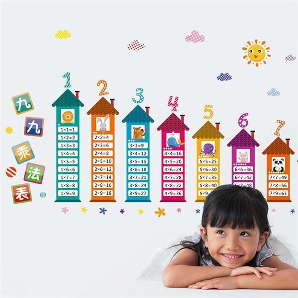 Enfants Cartoon Chambre Autocollants muraux 99 Multiplication Table Math Toy
