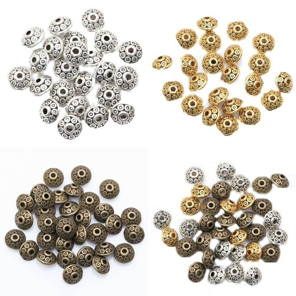 200x Stainless Steel Bicone Spacer Beads Loose Beads 6mm DIY Jewelry Findings