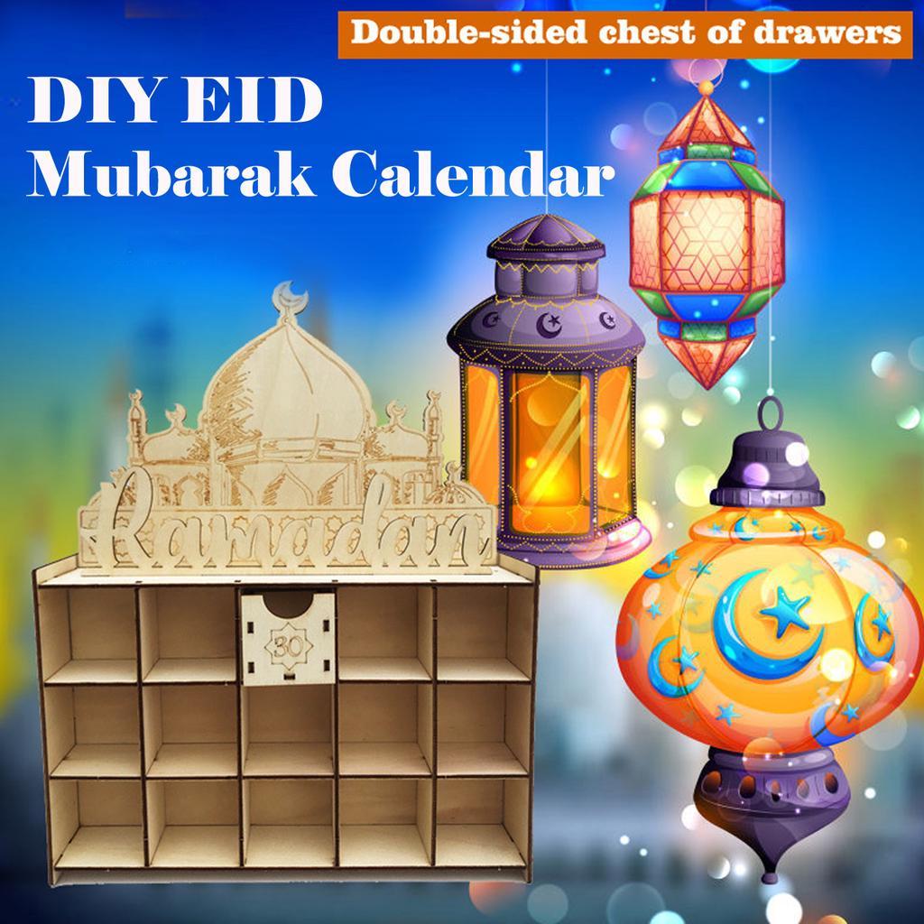 Kinder Arabisch MDF Ramadan Adventskalender 30 Taschen Eid Mubarak DIY Haus