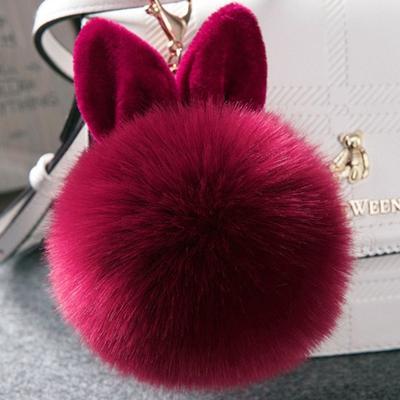 1pc Pompon Fluffy Porte Clef Pompom De Fourrure Women Rabbit Ear Fur Ball  Key Chain Rings 9f863ab0914b4
