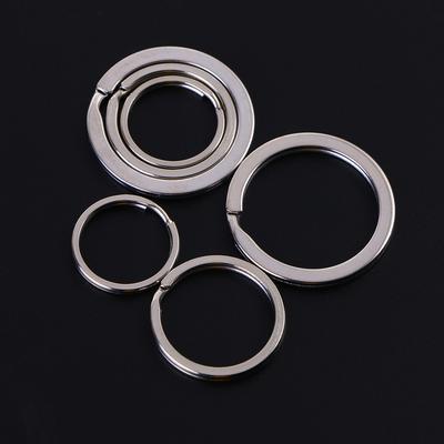 4pcs Titanium Key Rings Craft DIY Flat Split Ring Keyrings Backpack Bag Part