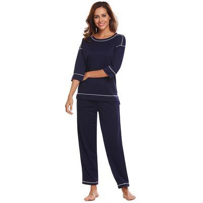 2ada837bf9 Mujer ropa de dormir 3 4 manga contraste Color camiseta Top pantalones  pijama conjunto