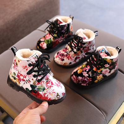 Warm Winter Boots Fashion Flower Print Shoes Girls Boys Ankle Boots Children Soft Fur Martin Boot Kids Snow Boots