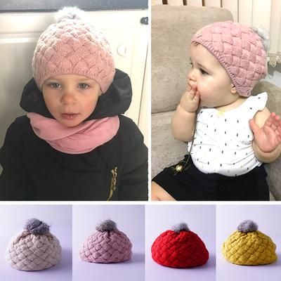 Baby Kids Toddler Winter Warm Knitted Crochet Beanie Hat Beret Cap ...
