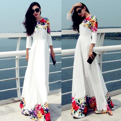 Womens Casual Maxi Dress,3//4 Sleeve Colorful Patchwork O-Neck Loose Long Party Dresses,Fashion Style for Ladies