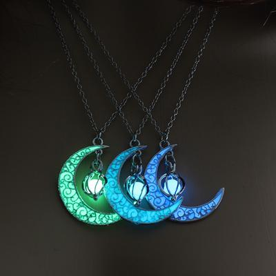 Moon Glowing Necklace Gem Charm Jewelry Silver Plated Women Halloween Pendant Hollow Luminous Stone Pendant Necklace Gifts