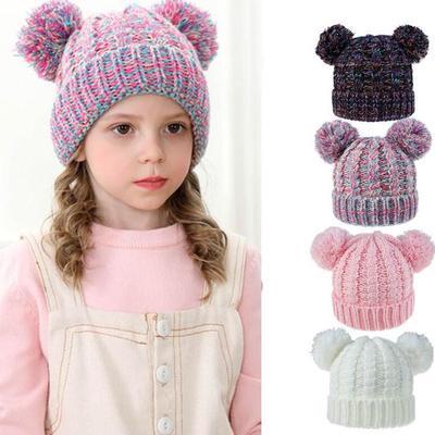 Girls Boys Kids Hat Keep Winter Casual Knitted Hat Wool Hairball Ski Hats LIU9