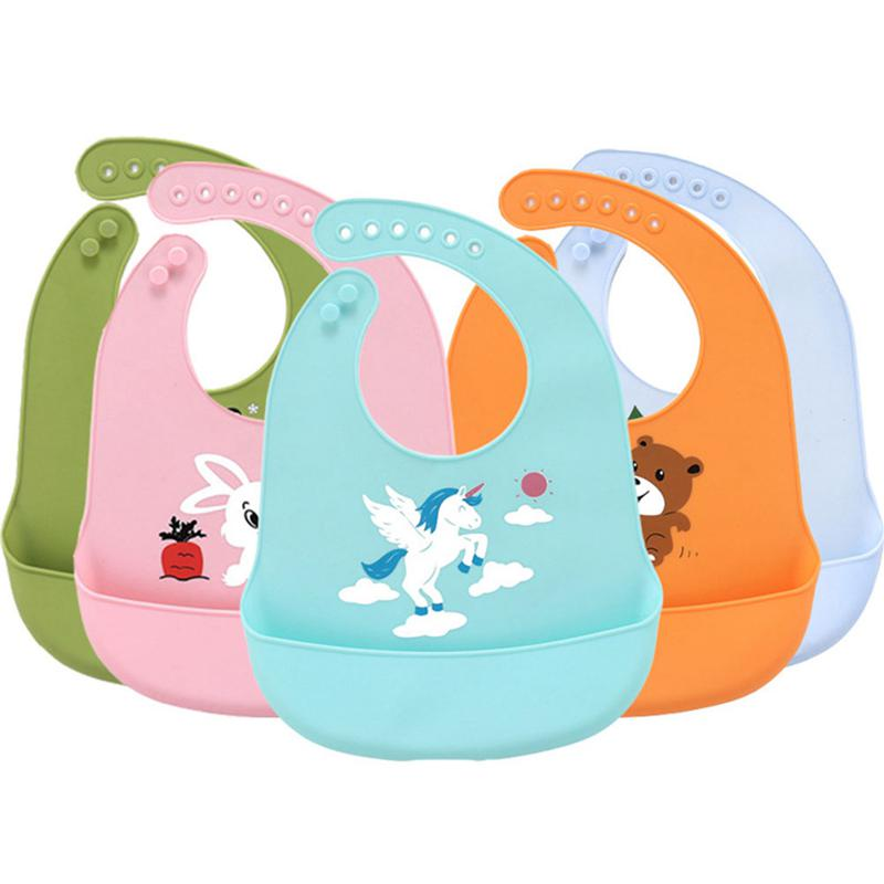 Newborn Baby Cartoon Bibs Waterproof Antifouling Silicone Feeding Saliva Towel
