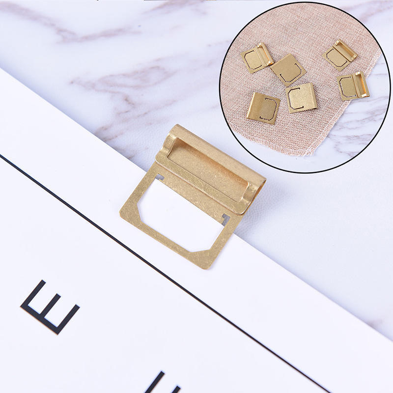 6pcs Brass Index Clamp Bookmark Label School Office Stationery Paper Clips