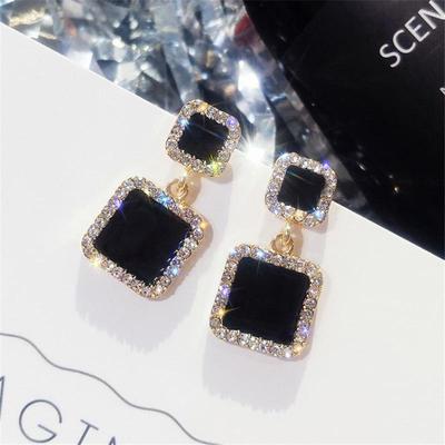 Statement Earrings 2019 Black Square Geometric Earrings Women Crystal Luxury Rhinestone Earring