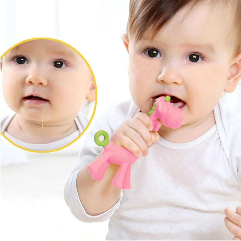 Toddler Giraffe Training Spoon Baby Teether Soft Silicone Teething Chewable Toy