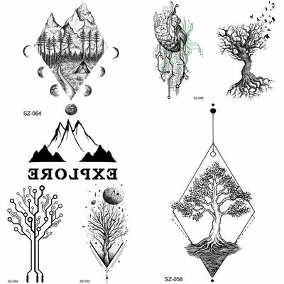 Geometric Temporary Tattoos For Women Men Realistic Fake Pine Tree Flower Body Art Tatoo For Holiday Buy At A Low Prices On Joom E Commerce Platform