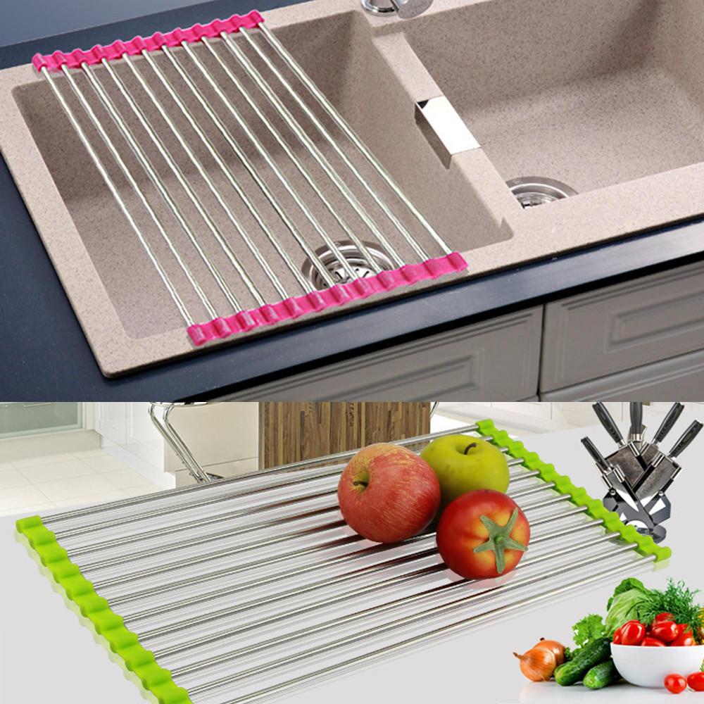 Storage Rack Halter Obst Gemüse Abtropffläche Siebe Küche Spüle ...