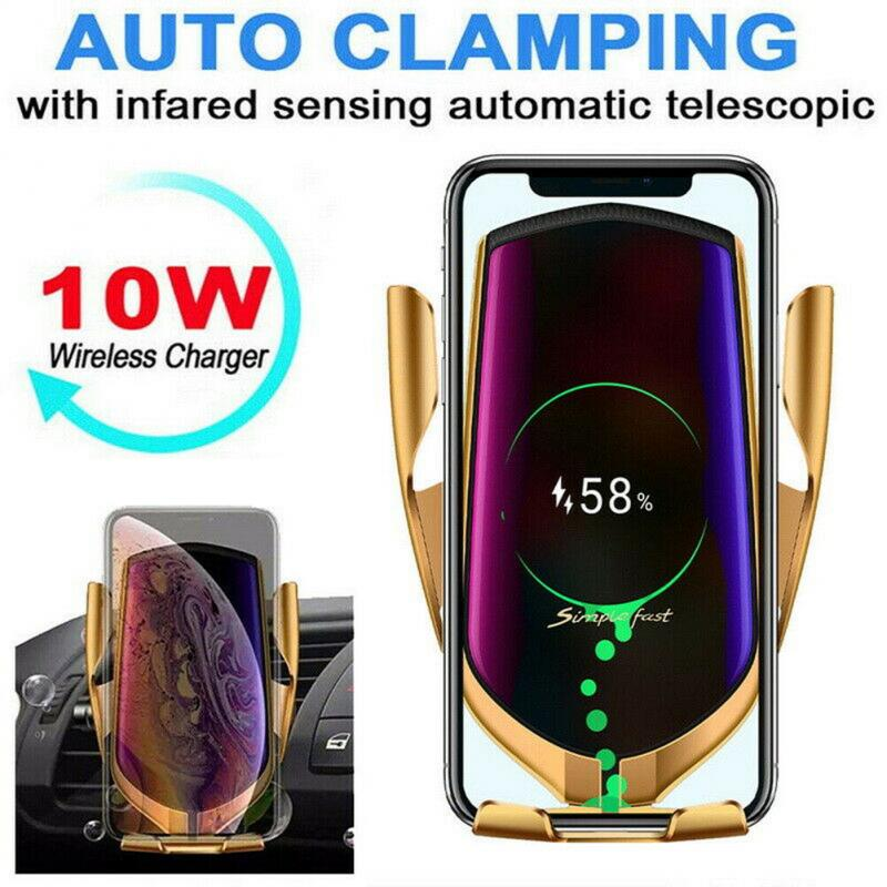 10W Automatic Clamping R1 Wireless Car Charger Mount For IPhone Samsung Huawei Xiaomi Mobile Phone Charging Holder Stand Without Positioning 2020