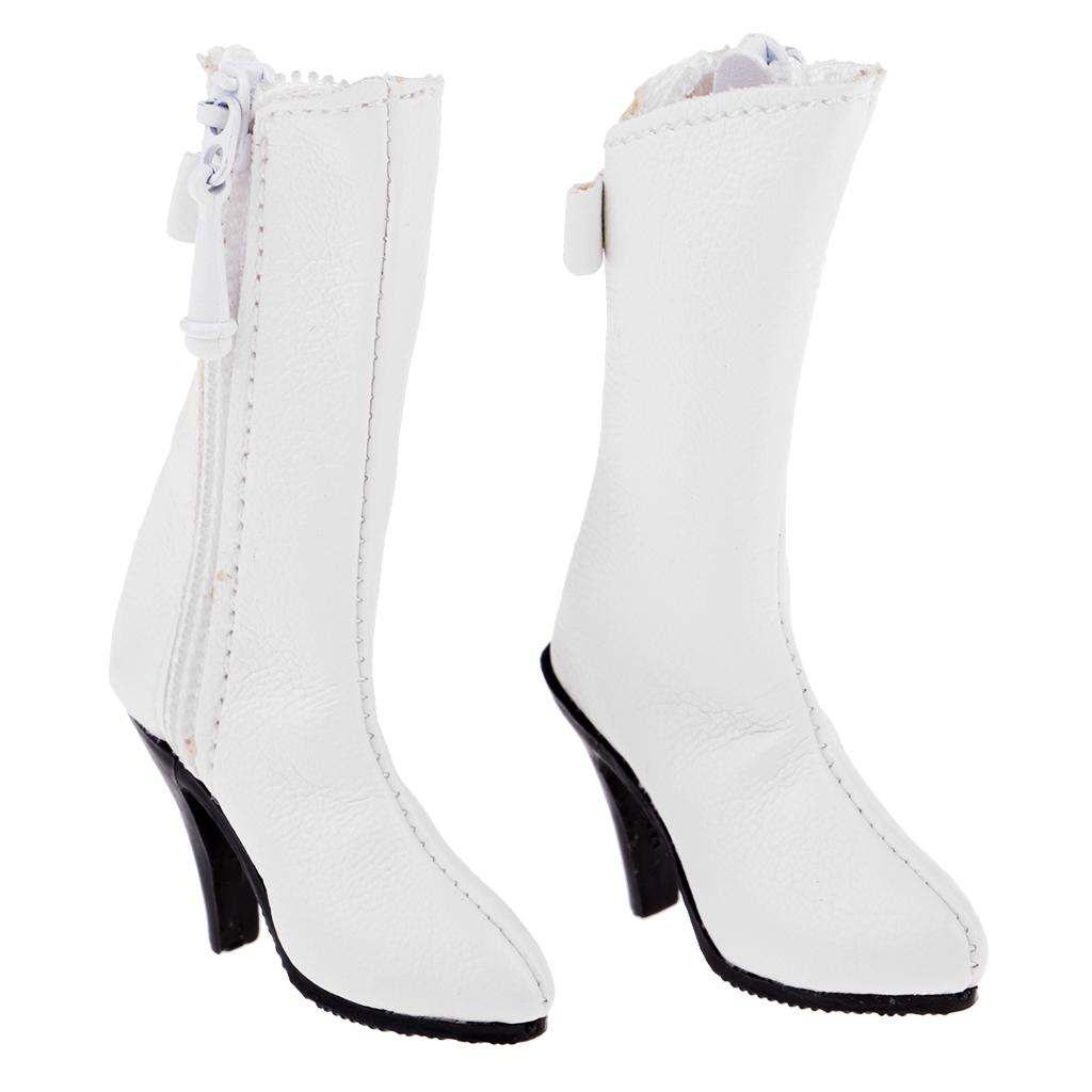 1:6 White Side Zipped Knee High Long Boots 12 inch Female Figure Accessories