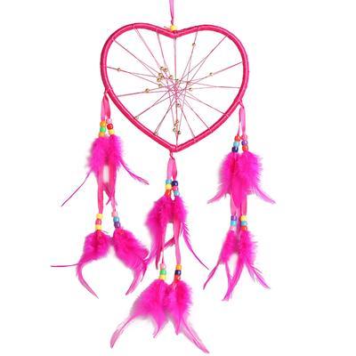 Corazón Forma Atrapasueños Con Plumas Pared Coche Ornamento