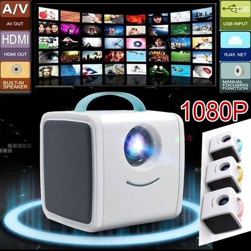 LED Video Projector for Children with HDMI//AV//USB//Memory Card Ports for Home Theater//Indoor US Plug Mini Portable HD 1080P Projector with HiFi Speaker