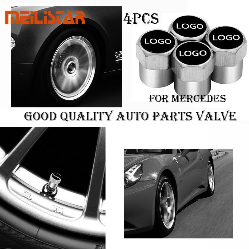 4pcs Carbon Fiber Auto Car Wheel Tire Air Valve Cap Stem Cover Mercedes Benz New