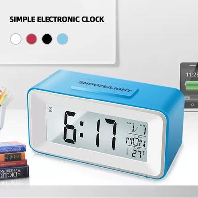 Desk Digital Clock Sound Control Backlight Snooze 8 Alarm Ringtones For Bedrooms Bedside Kids