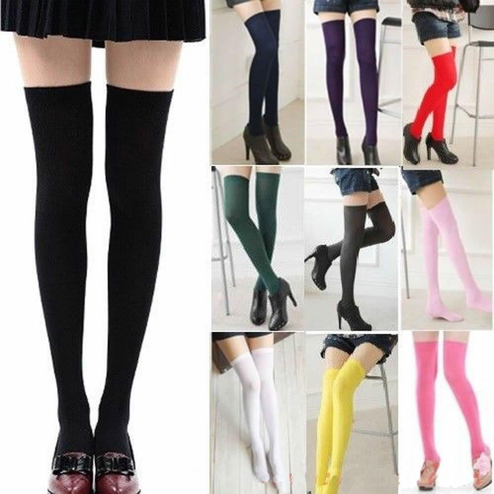 2//3 Pairs Women Girls Cable Knit Long Boot Socks Over Knee Thigh High Stocking