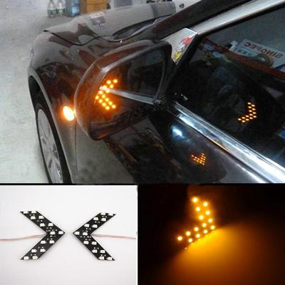 2X 27 SMD Amber Back View LED Rear Side Mirror Turn Signal Light Arrow Panel