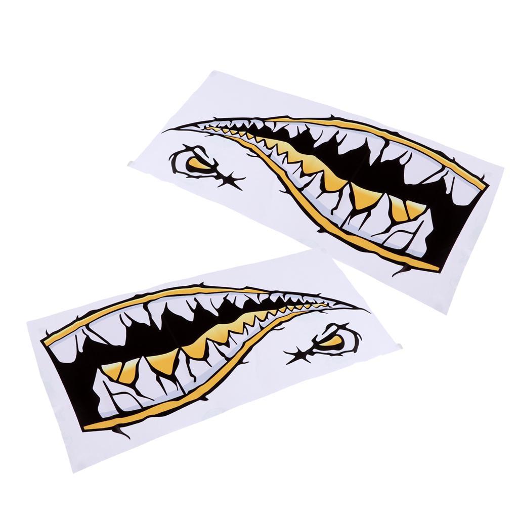 Kayak Canoe Jetski Surfboard Car Funny Decor 2Pcs PVC Shark Stickers Decals