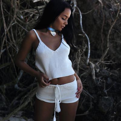 b811be034a Correa chaleco tejido corto mujer delgada cinta corto chaleco de punto
