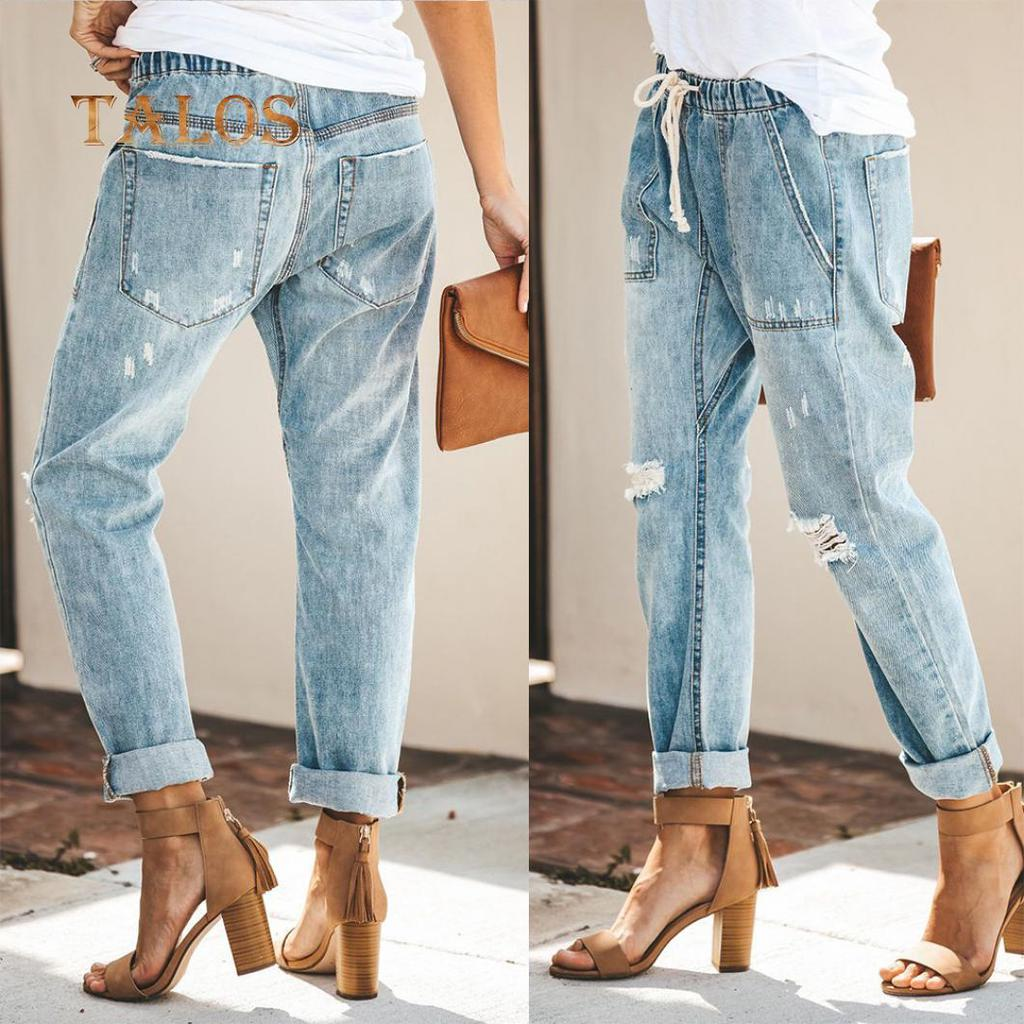 Women High Waist Drawstring Elastic Skinny Jean Ripped Pant Lace Up Long Trouser