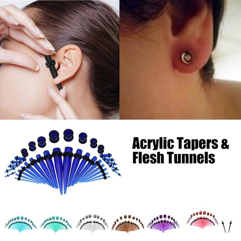 8MM-25MM EAR TAPERS EXPANDERS STRETCHERS PLUG TUNNEL BLACK ACRYLIC FLESH TAPER
