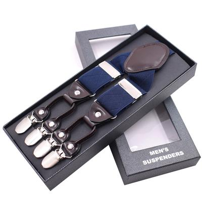 Men's Suspenders Apparel Accessories Men Y-shape Solid Or Dot Suspender Non-slip 6 Clips Elastic Adjustable Braces