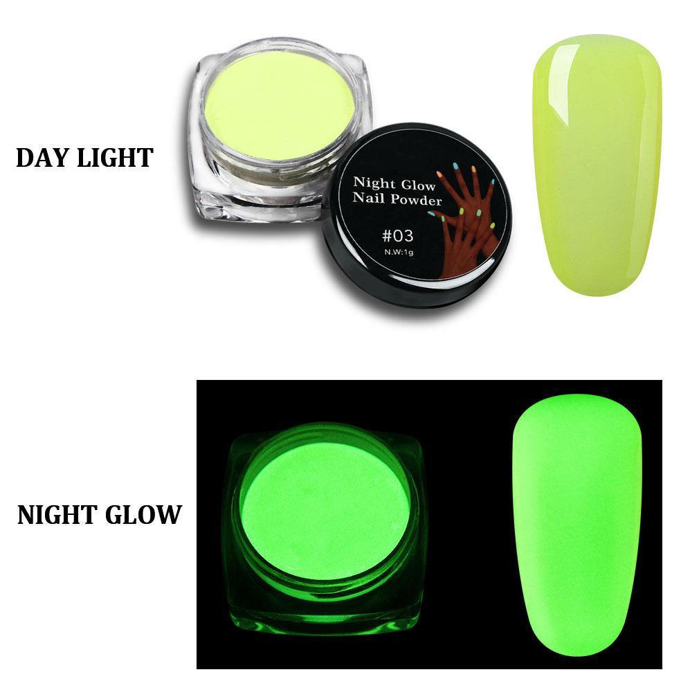 Pigmento luminoso polvo mezclado con Gel UV esmalte de uñas brillo ...