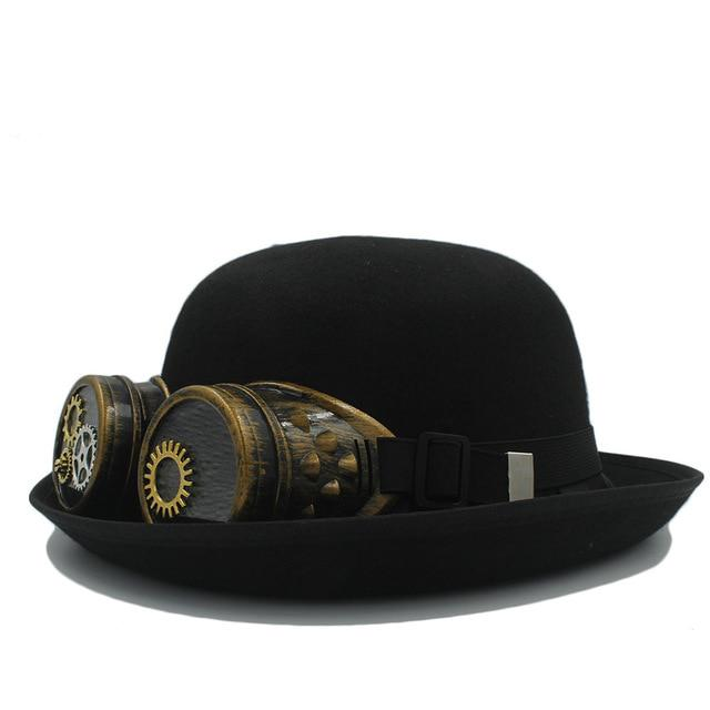 292e96367aa5d Handwork Women s Men s Black Bowler Steampunk Fedora With Gear Glasses For  Cosplay Steam Punk Hat-buy at a low prices on Joom e-commerce platform
