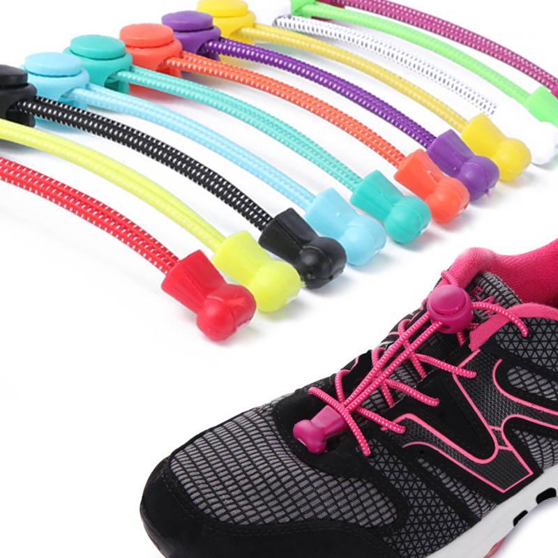 Curly Elastic No Tie Single Colour Shoelaces Shoe Laces Convenient Easy