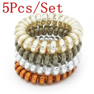 Elastic Rainbow Colorful Telephone Wire Cord Hair Band Ties Band Rope Bobbles 5pcs/lot