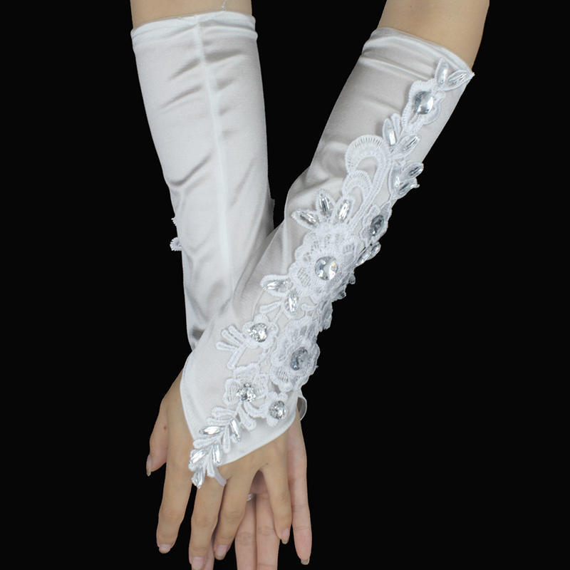 LYCRA FINGERLESS BRIDAL//PROM//WEDDING GLOVE,sewn beads