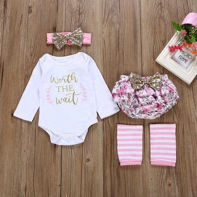 Leg warmer Outfit Set Newborn Baby Girl Letter Romper Tops+Tutu Dress+Headband