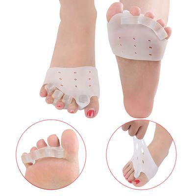 2X Silicone Half Toe Sleeve Metatarsal Pads Gel Toe Caps For Forefoot Bunion Aid