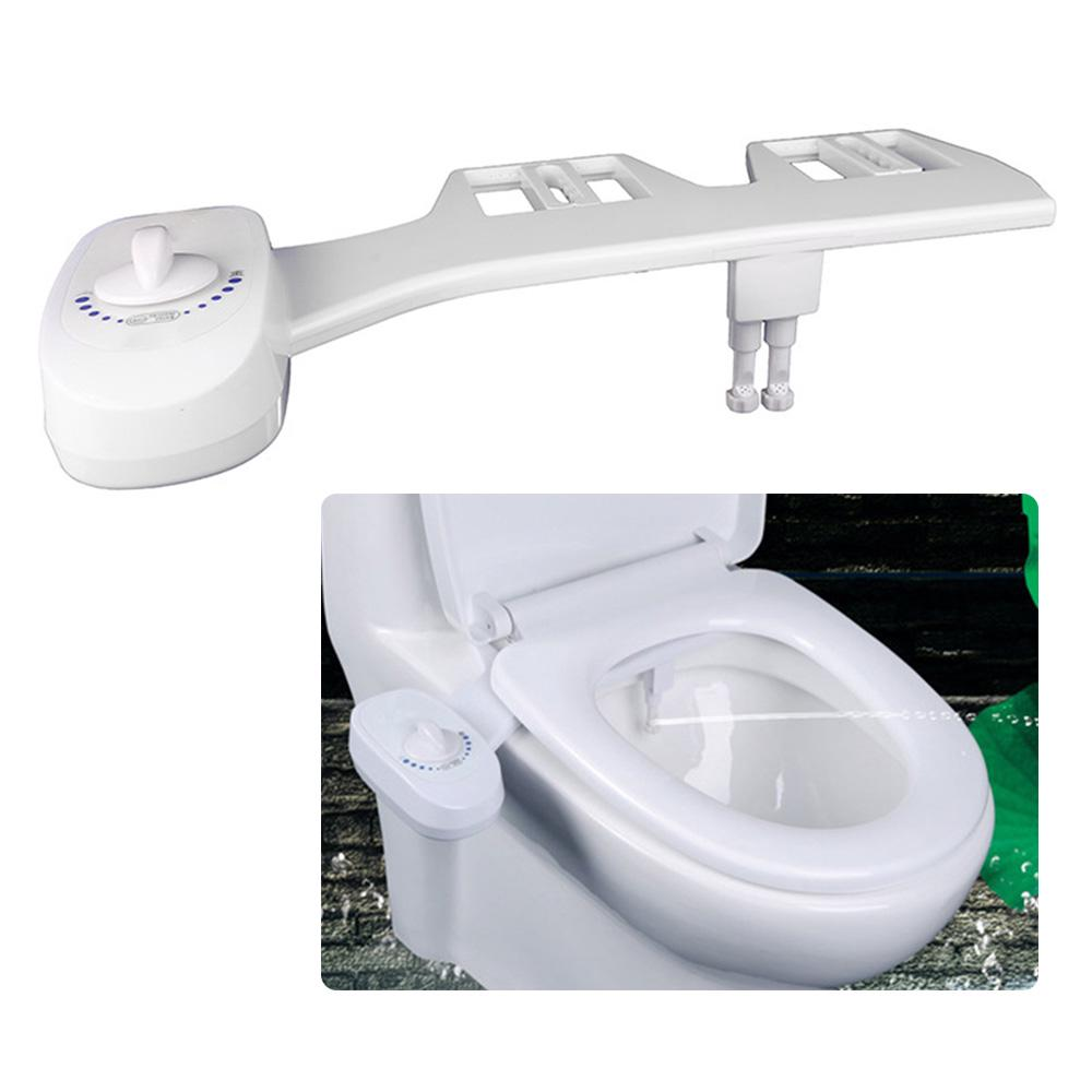Water Spray Dual Nozzle Non-Electric Bidet Toilet Seat Attachment Self-Cleaning