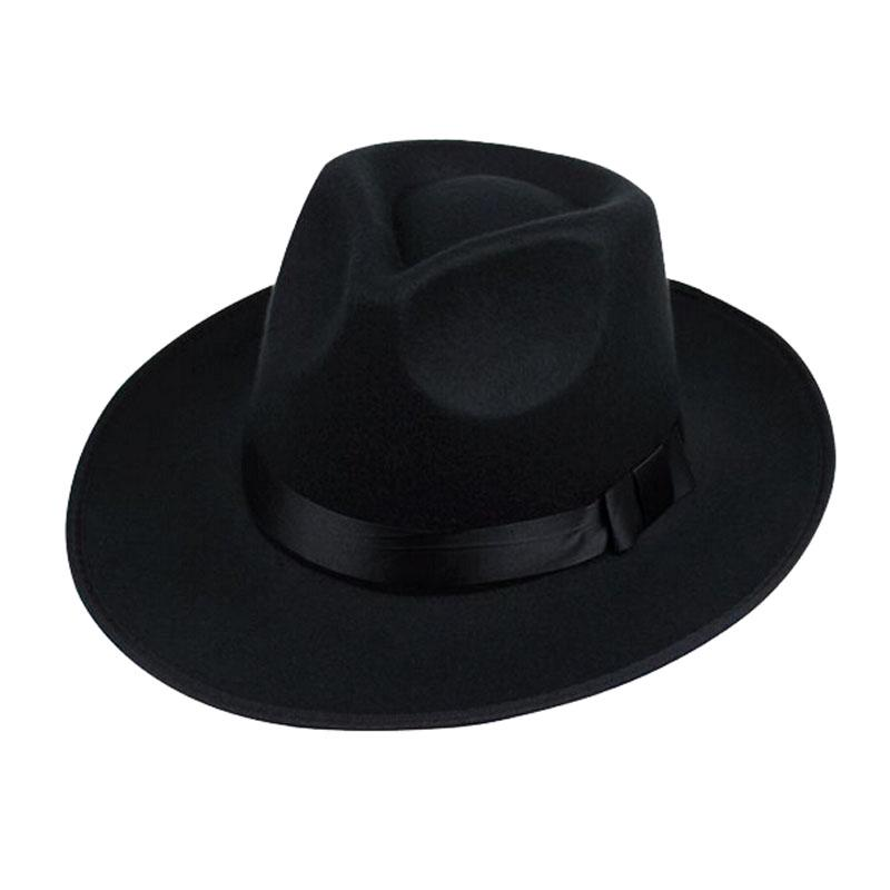 Unisex marrón negro gris Vintage lana Alón Fedora sombrero hombres ... a2d9473fcb9