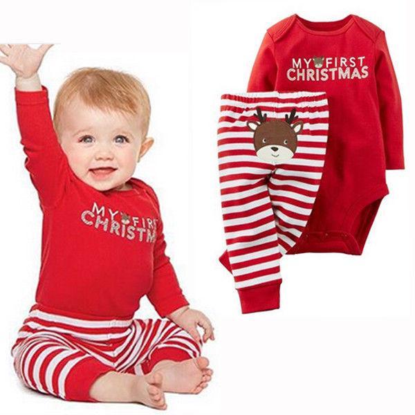 Cartoon Print Christmas Newborn Kids Baby Boys Bow Romper And Pants Clothes Set