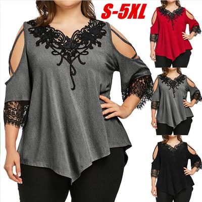 372b8e3077b98 BB Plus Size Women Lace Off Shoulder T-Shirt Short Sleeve Casual Top Blouse