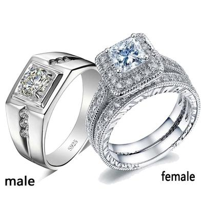 Luxury Couple Rings White Rhinestone Inlay Ring Women Men Engagement Wedding Ring Sets Buy At A Low Prices On Joom E Commerce Platform