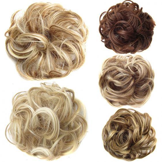 Знаменитая красотка Леди Волнистый Бад Синтетическое расширение волос Бун Curly Chignon