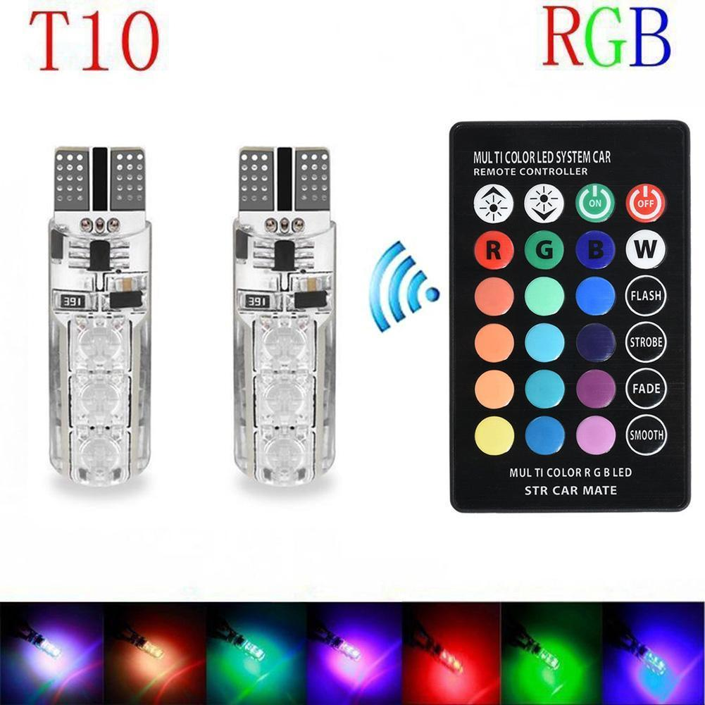 LIPOVOLT 2PCS T10 W5W 5050 6SMD RGB LED Multi Color Light Car Wedge Bulbs Remote Control