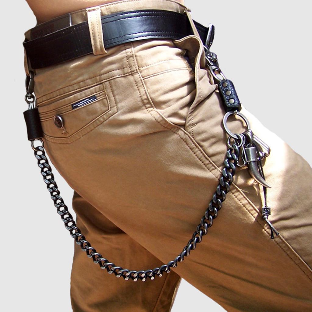 Hip Hop Heavy Metal Pirate Skull Long KeyChain Mens Biker wallet Chain
