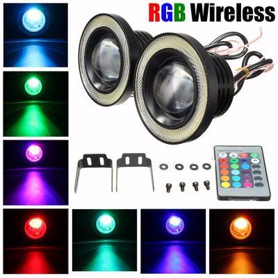 2Pcs 3/'/' Car Wireless Remote RGB Color COB LED Angel Eye Fog Lights Halo Rings